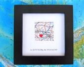 Framed Map and GPS Coordinates - Custom Map Coordinates - Latitude Longitude - Engagement Gift - Gallery Wall Art - Wedding Shower Gift