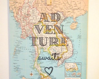 Vintage Map with Quote - Travel Themed Gift - Atlas Page with Text - Adventure Awaits - Choose a Map  - Quote Printed on Map