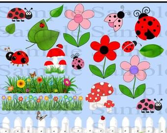 20 Ladybug Clip art Images , INSTANT DOWLOAD Ladybug Love Clipart, Ladybug Clipart for Personal and Commercial Use