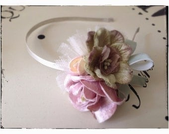 Victorian Velvet Rose Posy Hairband