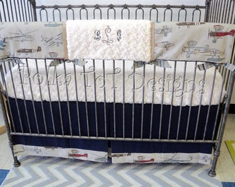 Bumperless Crib Set: Vintage Airplanes
