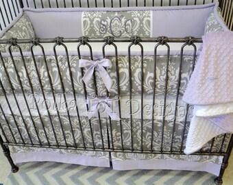 Baby Bedding Talia: Lavender & Gray Crib set