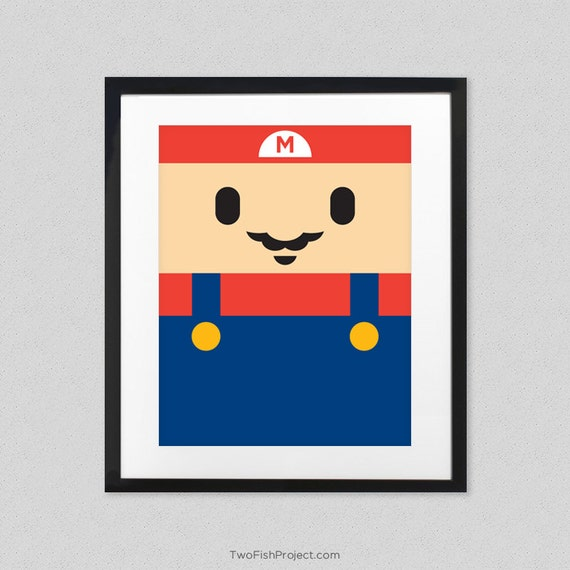 Items similar to baby super mario nintendo poster for for Baby rooms decoration games
