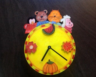 Kids bedroom clock with fruits and vegetables