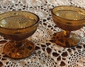 2 Vintage Amber Indiana Glass Stemware Sherbert Cups