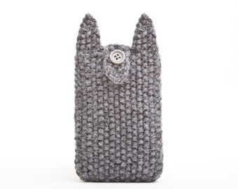 Cat iPhone X Case, iPhone 6 cover, iPhone Case, Knitted Cat iPhone 6s Plus case, Gray iPhone 7 sleeve, Knitted samsung galaxy s6 edge sleeve