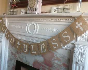 GOD BLESS with CROSS detail, banner bunting garland.