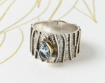 Blue Topaz Silver Ring, Chunky Gemstone Ring,Wide Silver Ring,Ornate Statement Ring,Unique Ring,Unusual Silver Ring,JR092