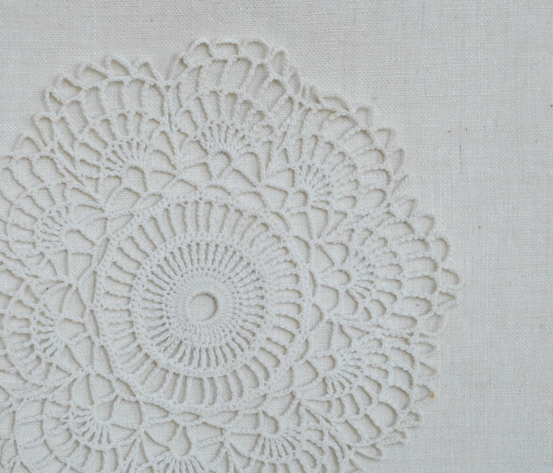 White crochet doilies crochet doily decor lace vintage - Crochet mural vintage ...