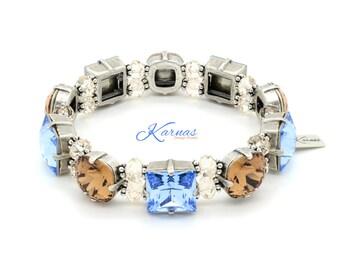 SAPPHIRE TOPAZ STRETCH 12mm Square and Cushion Stretch Bracelet Swarovski Elements *Antique Silver *Karnas Design Studio *Free Shipping*