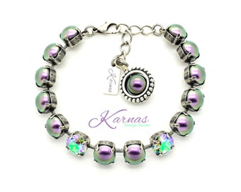 CRYSTAL PARADISE PEARL Crystal Chaton 8Mm Bracelet Made With Swarovski Elements *Pick Your Finish *Karnas Design Studio *Free Shipping*