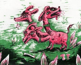 Screen Print Poster // Pink Poodles Dog Print // Three Headed Dog
