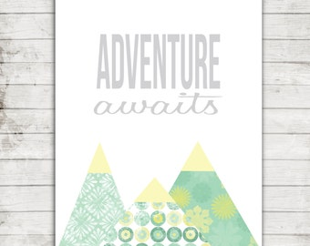 "Nursery Art Printable ""Adventure Awaits"" Mountains 8x10 Digital File #161"