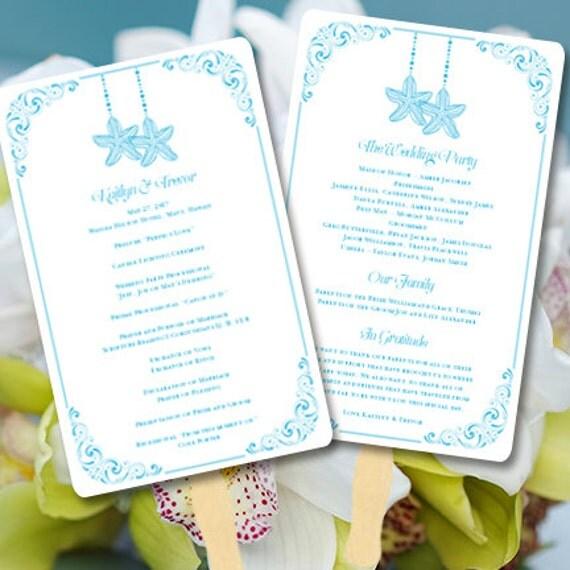 Beach Theme Wedding Program Fan Love On The Malibu Blue Printable Worddoc Template Order Colors DIY Stationery You Print