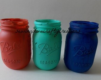 Painted Mason Jars, coral, turquoise, & navy