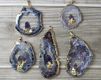 Natural Agate Druzy Slice Pendants // Gold Agate Amethyst Druzy // Amethyst Slice Drusy Pendant // Irregular stone jewelry B889