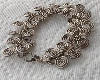 Vintage handmade silver wire spiral bracelet