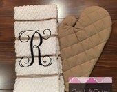 Monogrammed Kitchen Towel and Oven Mitt, Kitchen Towels, Kitchen Towel Set