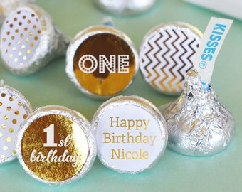 1st Birthday Hershey® Kiss Sticker - First Birthday Kiss Labels - Personalized Hersheys® Kisses (EB4003FY) - 108 PRINTED labels