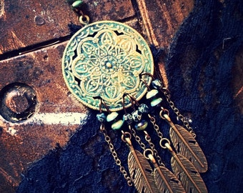 gypsy dream. a turquoise beaded dreamcatcher necklace.