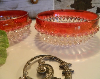 Set of 2 Vintage Indiana Glass Co Ruby Red Flashed Diamond Point Bowls