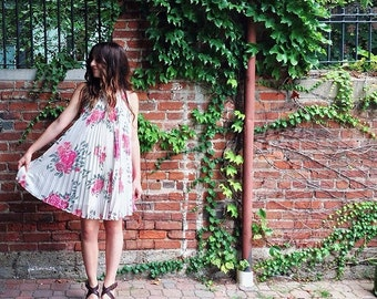 Chiffon floral pleated dress