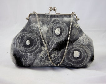 felted frame purse ART BAG grey clutch fiber art nuno felt OOAK, wet felted bag, nuno felt bag, ready to ship