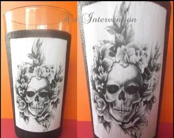 Decoupaged Skull Tattoo Pint Glass, Black glitter, Goth, Halloween