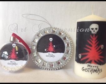 Merry gothmas, round clear plastic bauble or flat glitter frame Christmas/Xmas dec