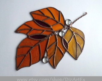 """Autumn leaves """"November"""". Fall. Stained Glass Pendant. Handmade. Home decor. DizArtEx.Made to order."""