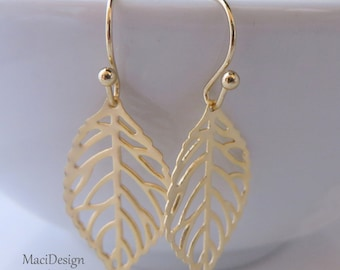 Gold Leaf Earrings, Gold Filled Earwires,Gif for Her,For Friends, Leaf Jewelry, Everyday Wear, Simple Earrings,Free US Shipping