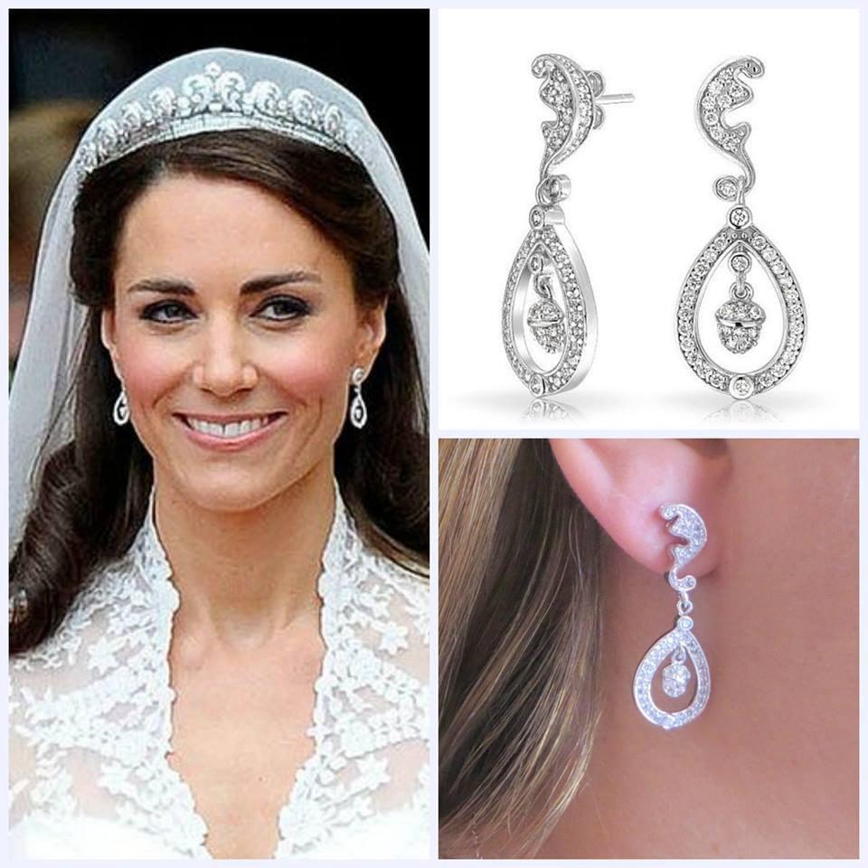 Kate Middleton Free US Ship Wedding Earrings by MaciDesign