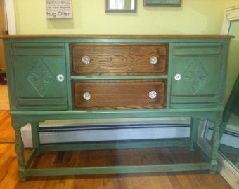 Beautiful Hand Painted Two Toned Mint / Green / Teal Buffet/Sideboard/ Tv Stand /ChangingTable/Entryway Storage/ Hall Table