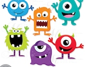 SILLY MONSTERS Clip Art: Digital Monster Clipart, Instant Download, MONSTER Clipart Vector Art Party Graphics
