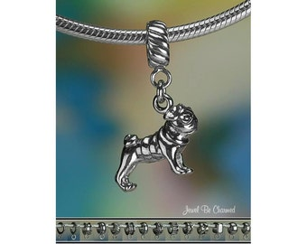 Sterling Silver Pug Charm or European Style Charm Bracelet .925 Pugs