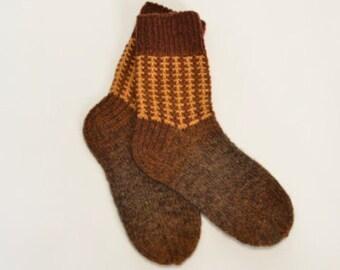 Hand knitted mens wool socks-100%Latvian wool