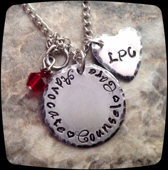 Items similar to Social Worker Gift, Counselor Necklace ...