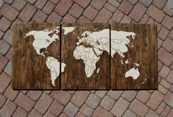 Wood stain world map with wood burn outlines of countries with like this item sciox Choice Image