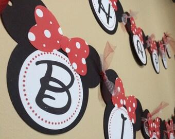 Minnie Mouse inspired Polka Dot Birthday Banner/Minnie Mouse inspired character party decorations/Custom/Handmade