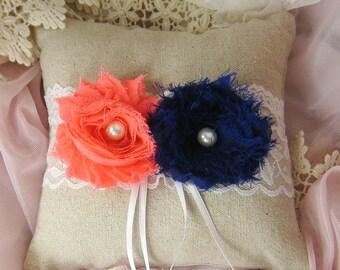 Wedding ring pillow, linen ring bearer, chiffon flower ring pillow (Choose your flower colour) Ring33