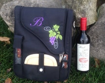 Personalized Embroidered Insulated Wine and Cheese Picnic Tote