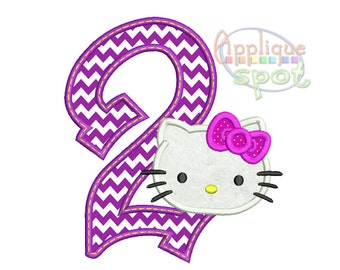 Kitty Second 2nd Birthday Girl 2 - 4x4 5x7 6x10 Applique Design Embroidery Machine -Instant Download File