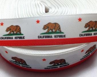 "3 Yards of 7/8"" California State Flag Grosgrain Ribbon"