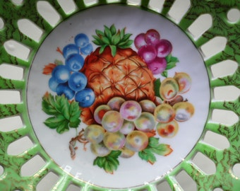 Beautiful Betson Bowl -  Lattice Pedestal - Hand Painted - Lovely Design - Practical Use for Nuts or Candies - Small Fruit Bowl - So Pretty