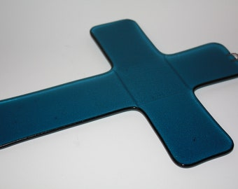 Fused glass wall cross - Solid-colored design