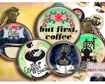 Digital Collage Sheet - Coffee - Cabochon images 1.5 inch 18mm 14mm 1inch circle Printable images Instant download bottle caps c143