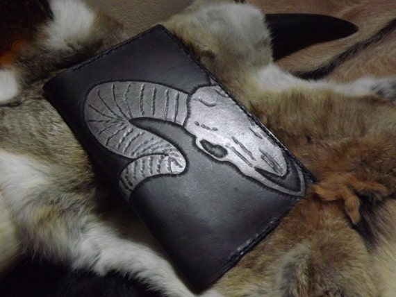 Gothic Cameo Animal Skull Leather Journal / Moleskin Cover Portfolio