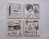 Vintage French Hair Salon Coasters - set of 4 - black and white, vintage advertisement, barber shop, beauty salon