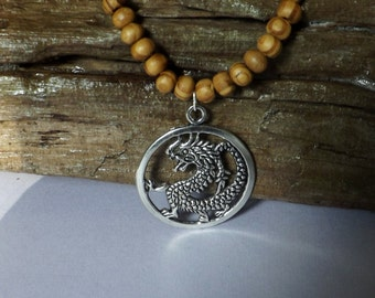 Men's beaded dragon necklace