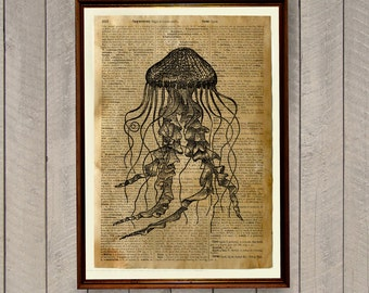 Rustic decor Jellyfish print Nautical poster Dictionary page WA59